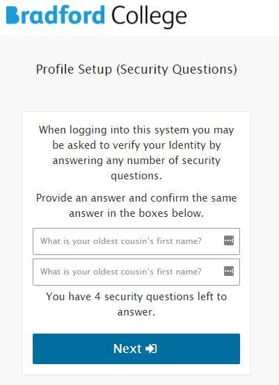 Profile Setup (Security Questions)